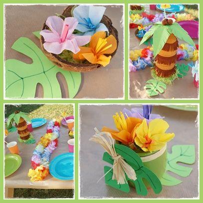 Après les tutos pour réaliser des fleurs hawaïennes et des cocotiers, je vous montre la déco complète pour l'anniversaire de Lison. Je vous...