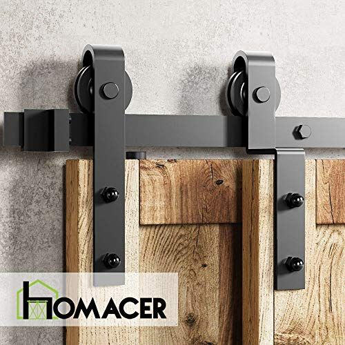 Homacer Sliding Barn Door Hardware Single Track Bypass Double Door Kit 10ft Flat Track In 2020 Bypass Barn Door Bypass Barn Door Hardware Interior Sliding Barn Doors
