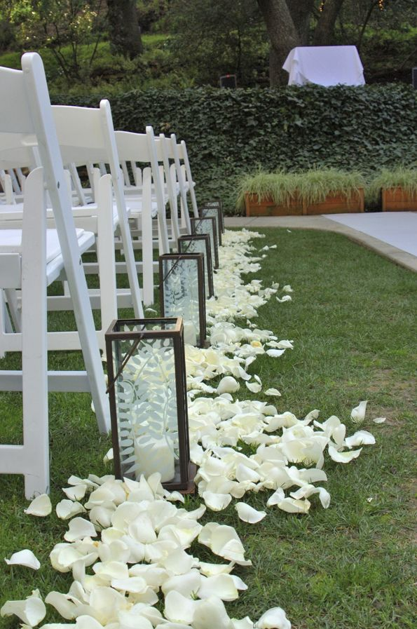 Aisle Runner With Lanterns And Flowers Helping Allyn