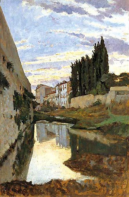 Il Mugnone presso il Parterre (Odoardo Borrani) #Firenze.