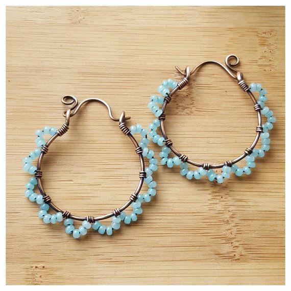 Blauwe draad gewikkeld hoepels handgemaakte sieraden