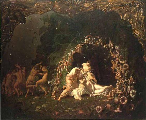 """Richard Dadd, """"Titania dormida"""", 1841 (basada en la obra de Shakespeare SUEÑO DE UNA NOCHE DE VERANO)"""