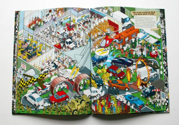 Top Gear Ultimate Tech & Research Centre from Top Gear Where's Stig? Motorsport Madness book on Behance - from Rod Hunt's new book Where's Stig? Motorsport Madness for the hit BBC TV show Top Gear. http://www.rodhunt.com