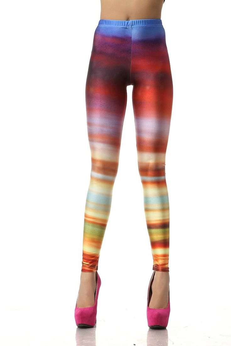HOT SALE VINTAGE BEAUTIFUL SEXY LADY NEW FASHION VINTAGE FASHION CASUAL GRADIENT STRIPES 3D DIGITAL PRINTING SEXY GALAXY LEGGINGS PRINTED COSMIC SPACE PANTS TIE DYE TIGHTS GIRL FOR WOMEN