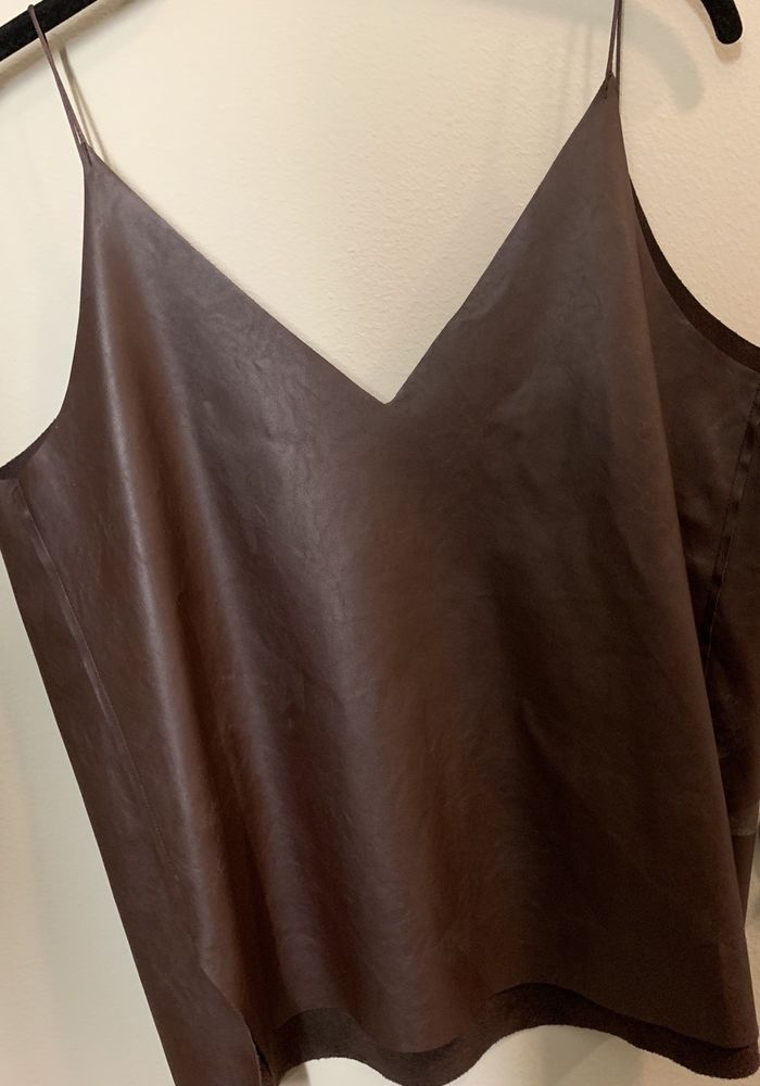 65f17e9153af4 Zara Trafaluc Faux Leather Cami Top LARGE Women Chocolate Brown  fashion   clothing  shoes  accessories  womensclothing  tops (ebay link)