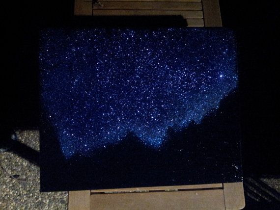 Night sky twinkling stars mountains landscape painting for Black painting ideas