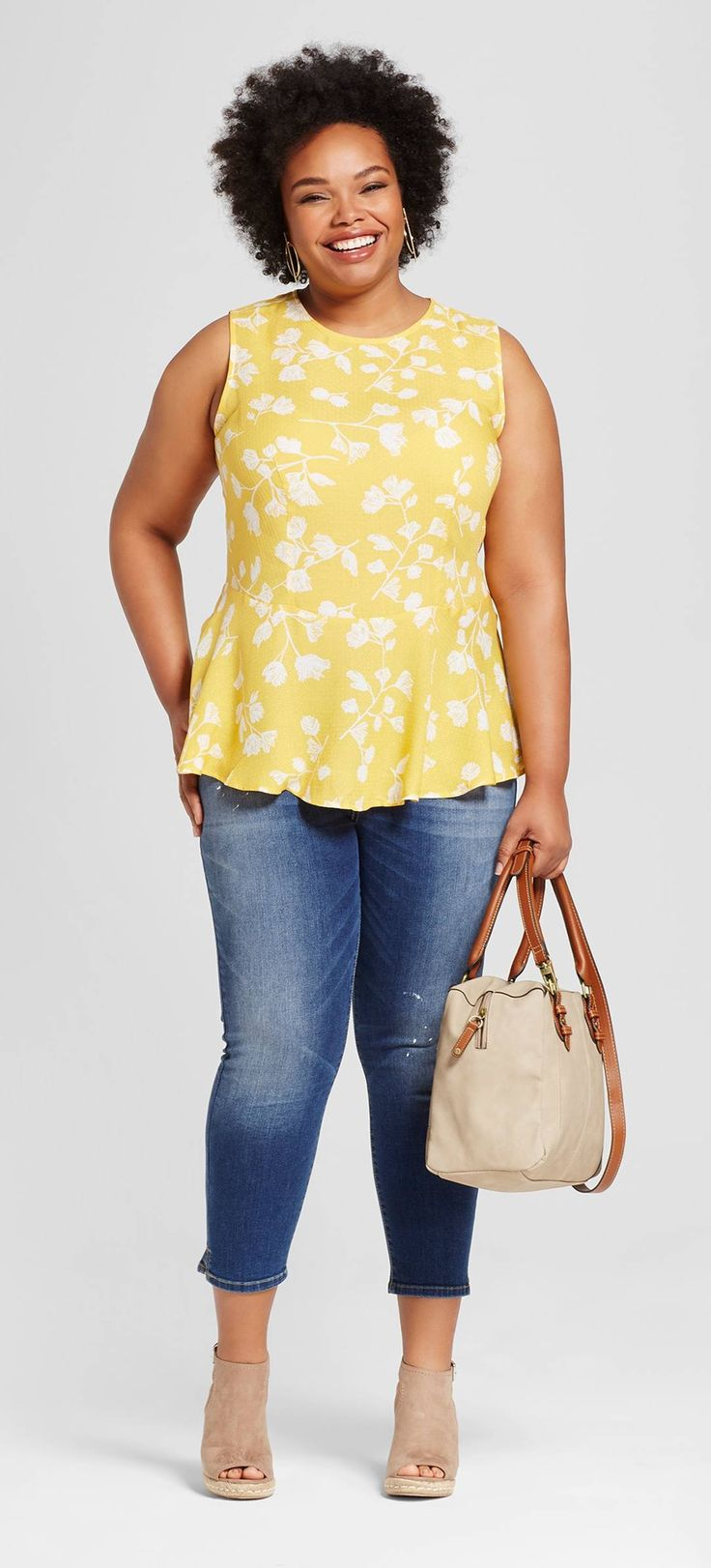Plus Size Printed Peplum & Cropped Jeans