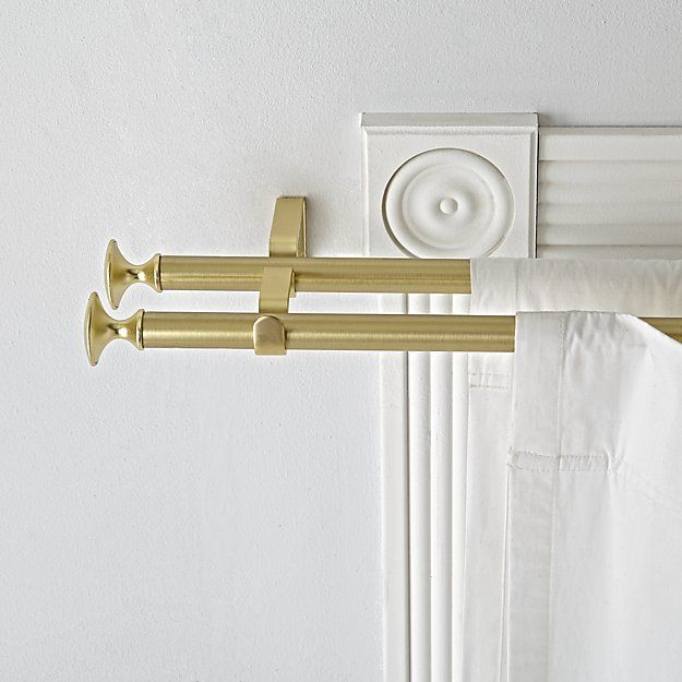 Double Gold Curtain Rod Crate And Barrel Gold Curtain Rods Double Rod Curtains Curtain Rods