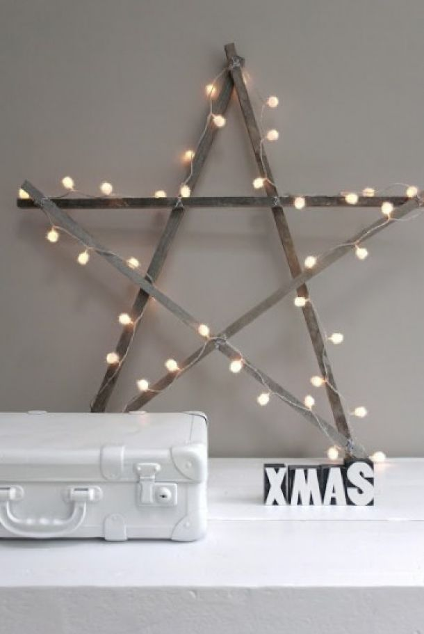 xmas - star - christmas lights - kerstversiering - ster - hout - kerstlichtjes