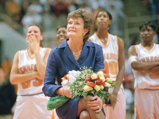 Tennessee coach Pat Summitt watches a video honoring her 25 years as Lady Vols' head coach on Jan. 17, 1999, at Thompson-Boling Arena. The players are, from left, Kristen Clement, Semeka Randall, Michelle Snow, and Niya Butts.