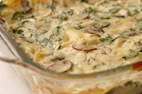 Chicken, Mushroom and Spinach Alfredo Lasagna (adapted from Emeril Lagasse)