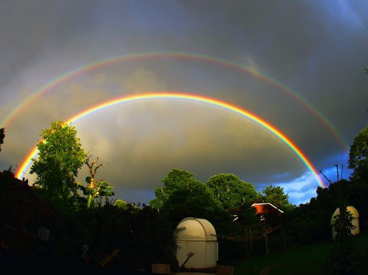 The photo above featuring an impressive primary rainbow, secondary rainbow and supernumerary bows was captured over the New Forest Observatories near Brockenhurst, England, about an hour before sunset on July 26, 2015