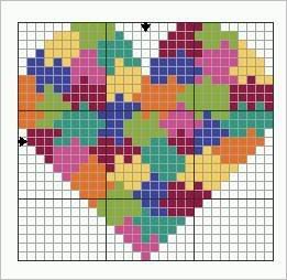 Valentine heart cross stitch. Heart cross stitch.