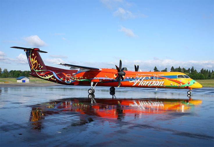 Horizon Air Bombardier DHC-8-401 Q400 N425QX at Portland-International, circa June 2006. This was a special 25th Anniversary livery for the airline which is part of the Alaska Air Group. (Photo: Horizon Air)