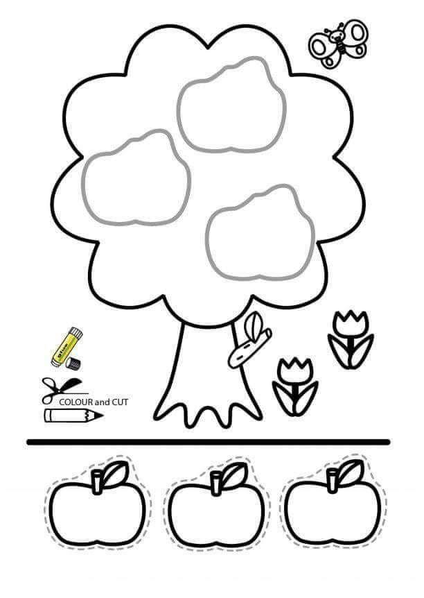 okul öncesi eğlenceli kes yapıştır etkinlikleri ağaç elma | Evimin Altın Topu