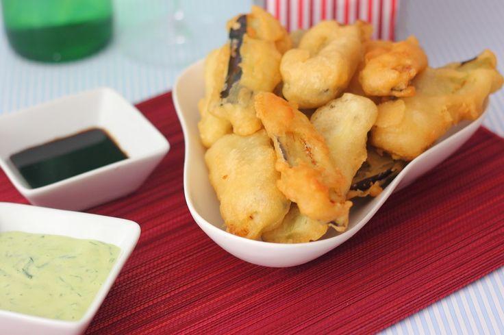 Berenjenas en tempura y truco para que absorban menos aceite al freírlas