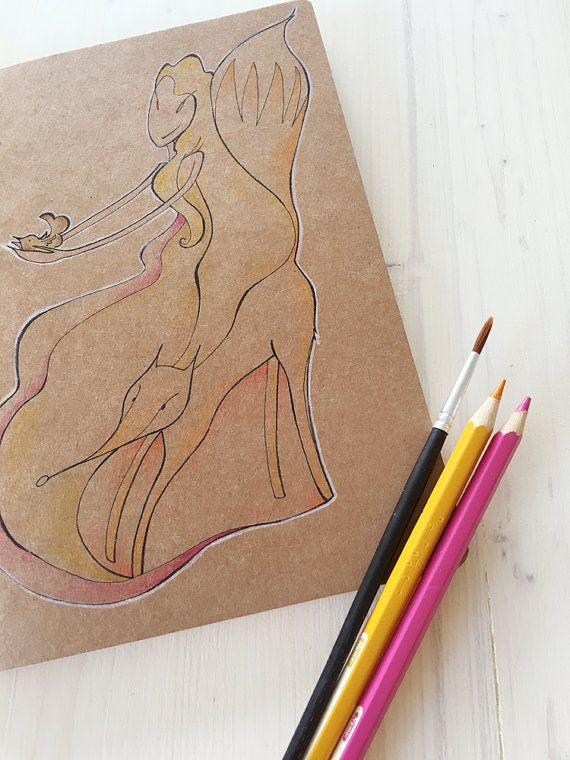 Fox Sketch Book with soft cover and beautiful brown pages.  Original…