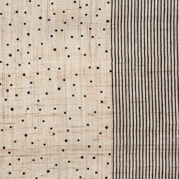 【水玉縞 黒(中川政七商店)】/日本の伝統的な文様の1つである「霰」と「千筋」。 霰はその名の通り、点を配置して霰が降る様子を図案化した文様。 千筋は糸のように細かい縞文様のことを指します。 ふたつの文様を組み合わせる事で、様々な表情をみせるテキスタイルが水玉縞です。 #japanesetextiles #textile #patterns