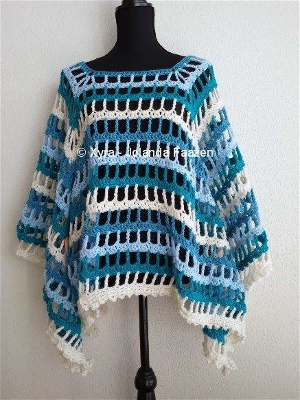#PATR1021 #Xyra #Poncho #zomer #Omslagdoek #sjaal #haakpatroon #patroon #haken #gehaakt #crochet #summer #pattern #scarf #shawl #DIY #vierkant #square #open Patroon (NL) is beschikbaar via: Pattern (English-US) is available at: www.xyracreaties.nl www.ravelry.com/stores/xyra-creaties www.etsy.com/shop/XyraCreaties