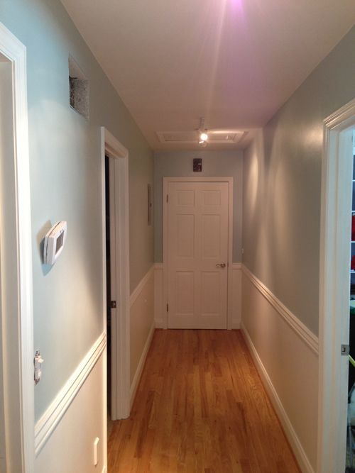 Narrow hallways decorating two colors of paint on the wall divided by chair  rail7 best     images on Pinterest   Hallway designs  . Narrow Hallway Wall Decorating Ideas. Home Design Ideas