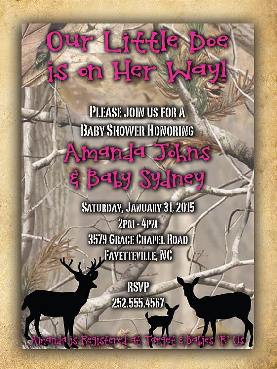 Camouflage Baby Shower Invitation for Girl by six8twelvedesigns