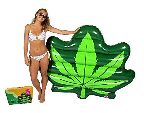 #beachaccessoriesstore Original Giant Weed Leaf Pool Floats For Adults - Mary Jane Swimming Inflatable Float as… #beachaccessoriesstore