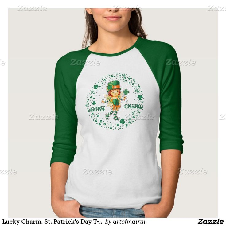 Lucky Charm. Little Sweet Girl Leprechaun design St. Patrick's Day Sweatshirts and T-Shirts. Matching cards, postage stamps and products available in the Holidays / St.Patrick's Day Category of the artofmairin store at zazzle.com
