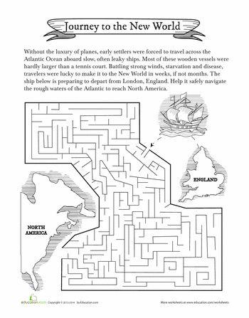Colonial Maze   Social studies worksheets, Worksheets for ...