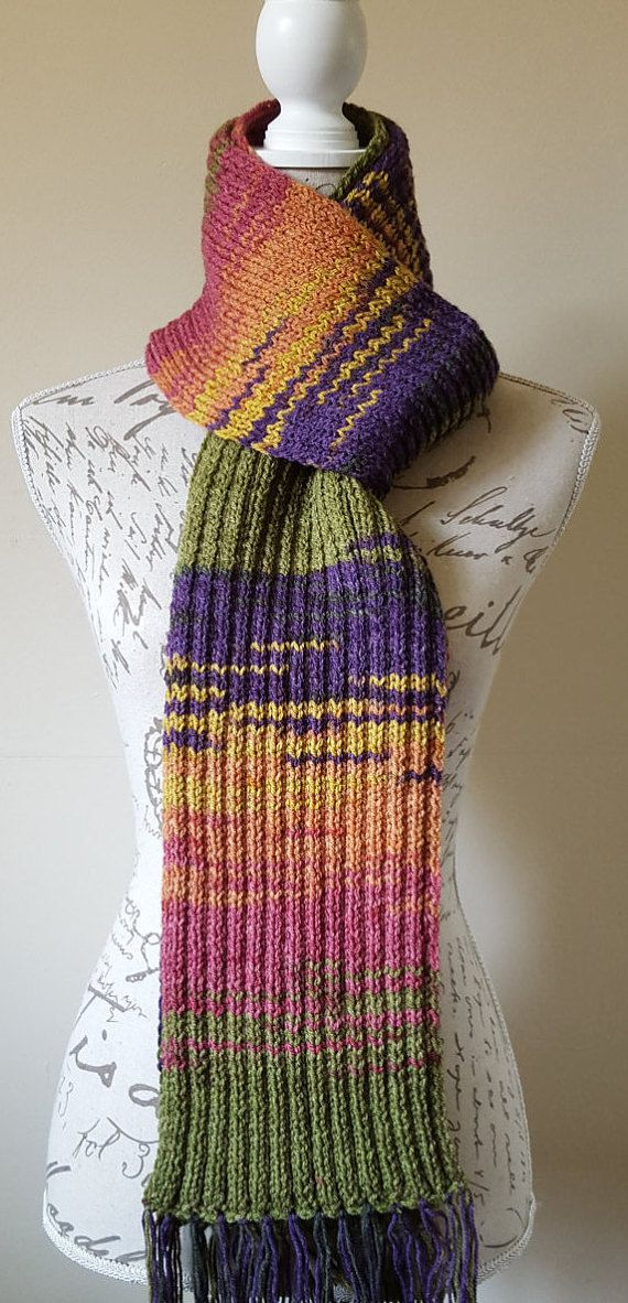 Hand-Knitted.Multicolored.Long.Unisex.Winter.Fringe Scarf