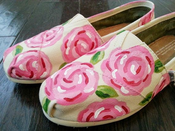 Floral TOMS or Converse Painted Shoes by LaQuist on Etsy