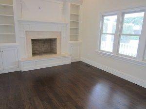 Select Grade 4″ White Oak installed and finished with Dark Walnut stain and Bona Mega water based polyurethane in East Hampton, NY.