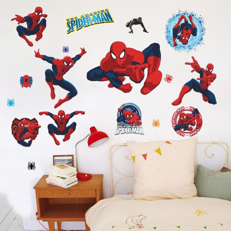 Movie character 3d cartoon Spiderman Wall Stickers for Kids Rooms Wall decals Home Decor wallpaper Mural For Boys' Room Y002