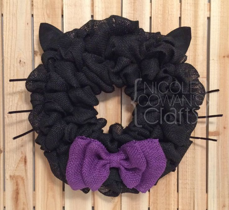 Halloween Burlap Wreath - Black Cat Wreath - Halloween Black Cat Wreath - Black…