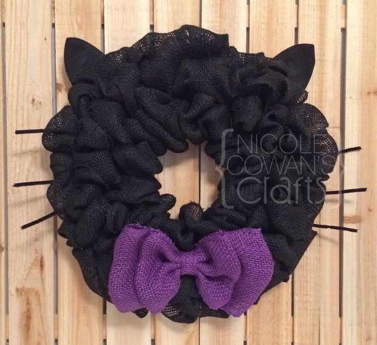 Halloween Burlap Wreath - Black Cat Wreath - Halloween Black Cat Wreath - Black…