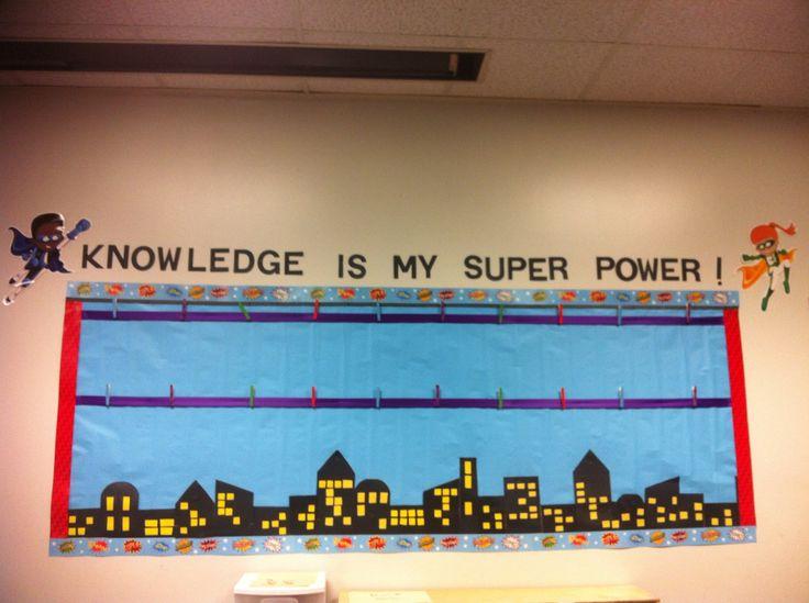 My super hero themed board in my classroom.