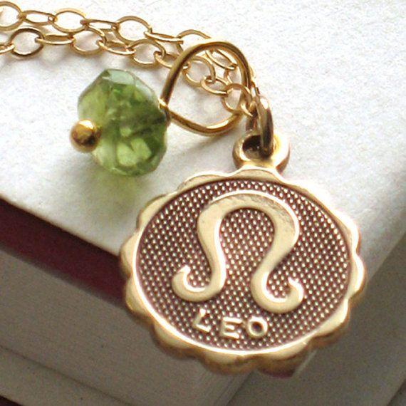 Leo Medallion & Birthstone Necklace, Zodiac, Peridot, Ruby, July Birthday, August Birthday, Astrology, Lion