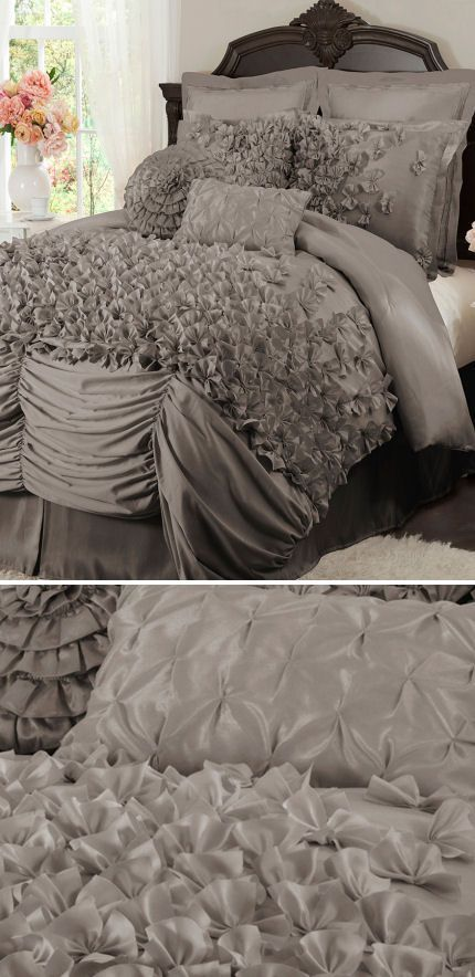 Lovely layered ruffle comforter set l o v e bed sets for Frilly bedspreads