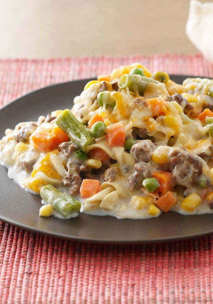 Creamy Beef & Noodle Bake – No ordinary beef-and-noodle bake, this one's creamy enough to deserve a shout-out in the title. A delicious dish of velvety sauce simmering in beef, noodles, veggies, and cheese.