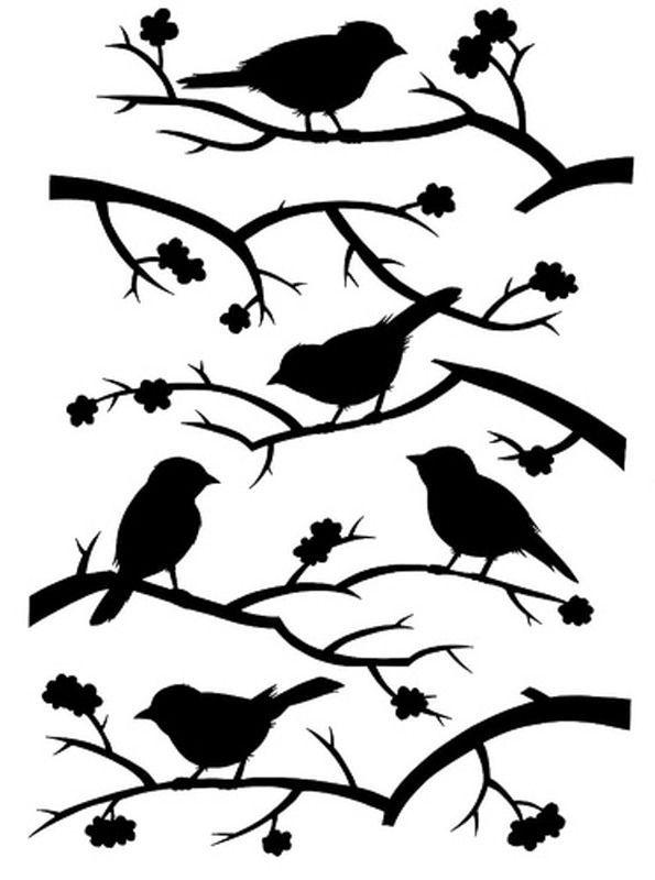 Stencil ramas y pájaros. Silhouette                                                                                                                                                     Más