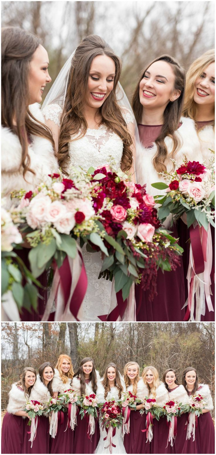 Winter bridal party, fur stoles, long wine colored bridesmaid dresses, pink and red floral wedding bouquets // Reid & Brittany Photography