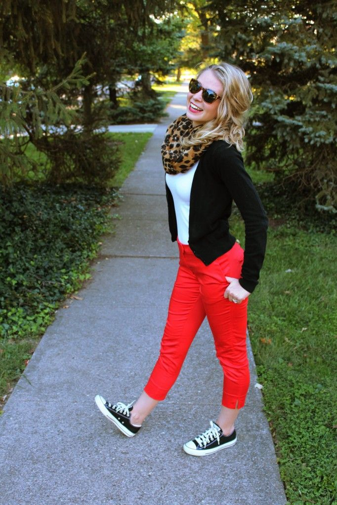 Red pants (any color pants), black sweater (neutral sweater), cheetah print (bold print scarf), and chucks. Super Cute.