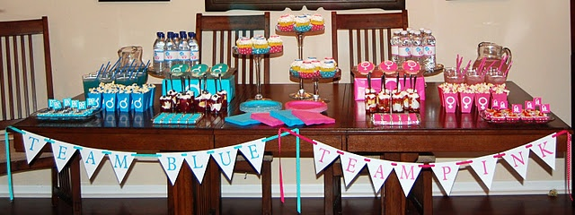 Gender reveal party for a baby. SUCH a fun idea! (Too bad I'm not having anymore!)