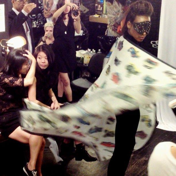 Scarf modelled at NYC fashion week 2013