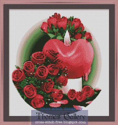 red love roses free cross stitch pattern  I want to share my red and love.  roses for all who loved me.  Red love roses in my heart  simple design, in 13 colors  gratis download