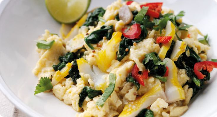 Sophie Wright's curried scrambled eggs with spinach and smoked haddock