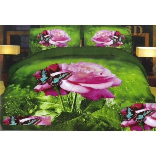 Růžová růže s motýlem ložní povlak zelené barvy - dumdekorace.cz