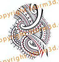 shaded-red-maori-tribal-halfsleeve-tattoo-color-designs