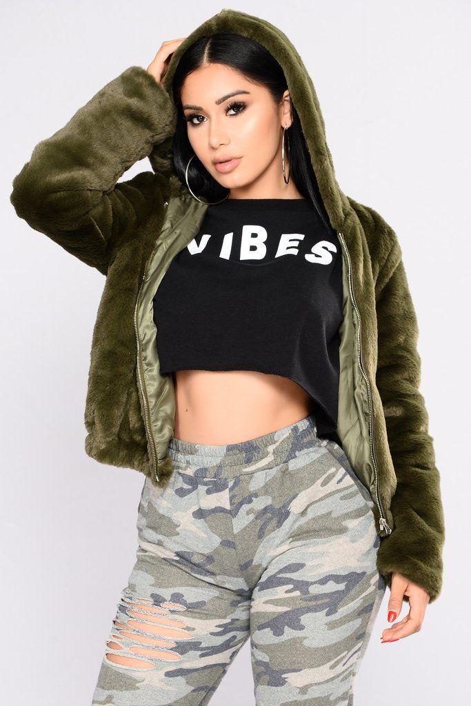 Irene Faux Fur Hooded Jacket - Olive