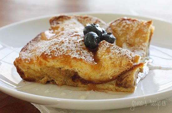 Lightened Up Crème Brûlée French Toast - A make-ahead baked French toast casserole with a sweet sugar-coated bottom, perfect for a Christmas morning breakfast. Perfect for Mother's Day! #mom #mothersday #recipe
