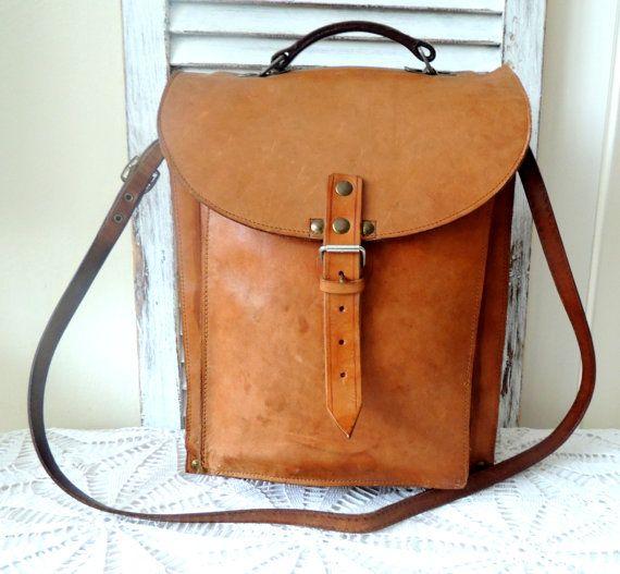 Vintage Leather Shoulder Handle Bag Satchel Messenger
